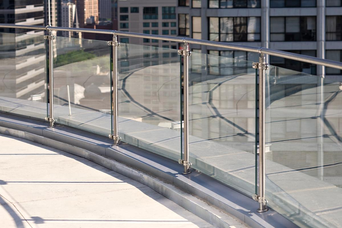 Glass with SS Posts and Rail